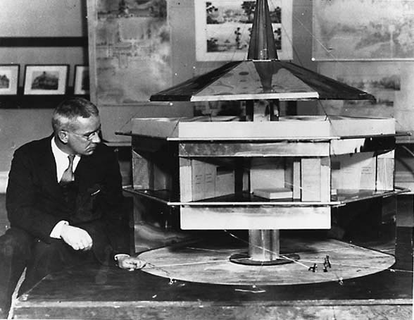 "Fuller and his ""Dymaxion House"" model."